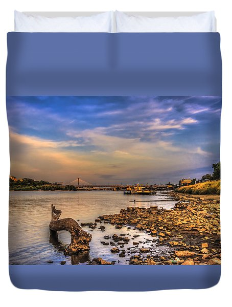 Low Water Vistula Riverscape In Warsaw Duvet Cover by Julis Simo
