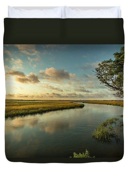 Pitt Street Bridge Creek Sunrise Duvet Cover