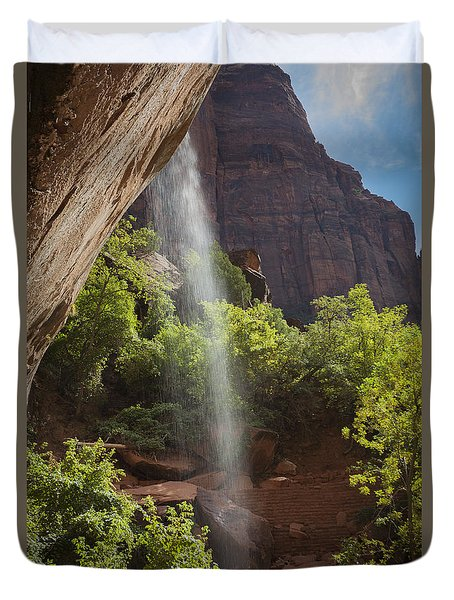Lower Emerald Pool Falls In Zion Duvet Cover