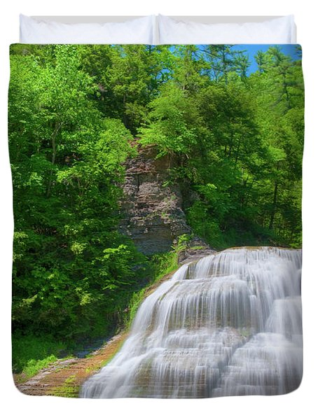Duvet Cover featuring the photograph Lower Falls 0485 by Guy Whiteley