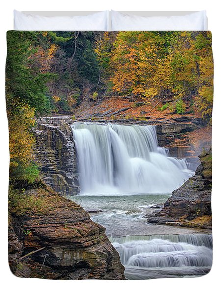 Lower Falls In Autumn Duvet Cover