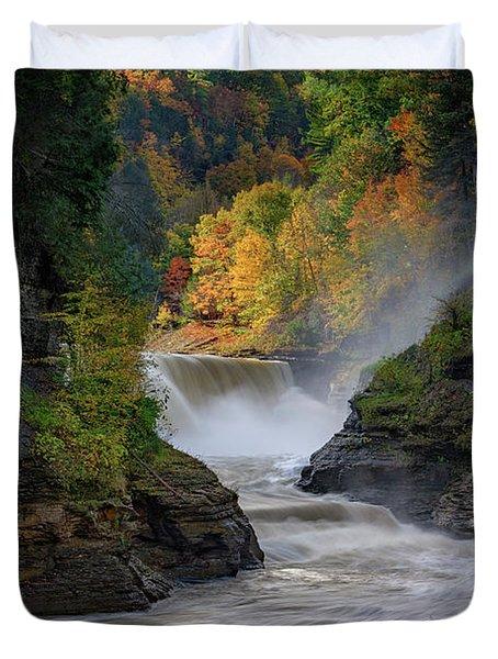 Lower Falls Of The Genesee River Duvet Cover by Rick Berk