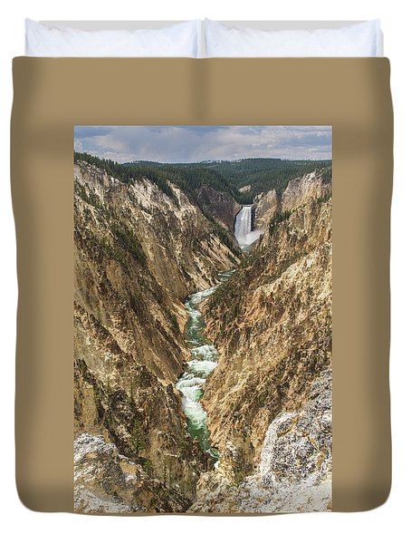Lower Falls Of The Yellowstone - Portrait Duvet Cover