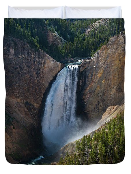 Duvet Cover featuring the photograph Lower Falls Of Yellowstone River by Roger Mullenhour