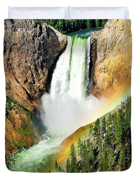 Lower Falls Rainbow Duvet Cover by Greg Norrell