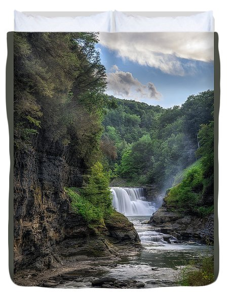 Duvet Cover featuring the photograph Lower Falls - Summer by Mark Papke