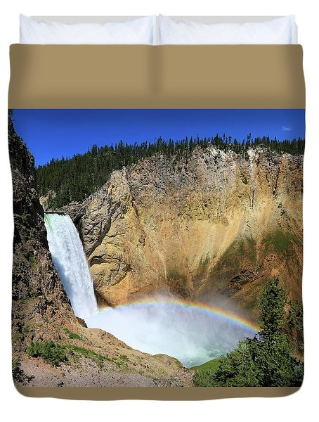 Lower Falls With A Rainbow Duvet Cover