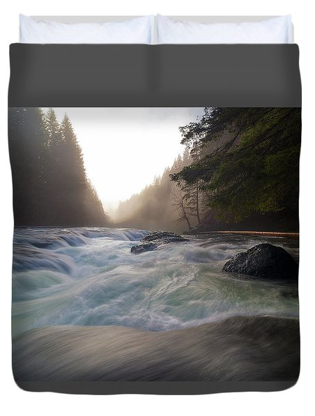 Lower Lewis River Falls During Sunset Duvet Cover by David Gn