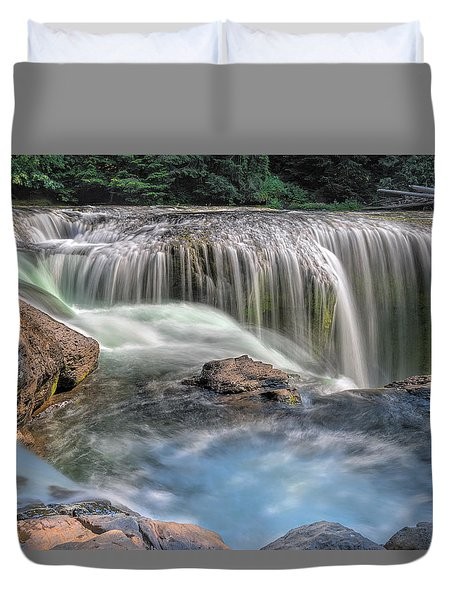 Lower Lewis River Falls Rush Duvet Cover by David Gn