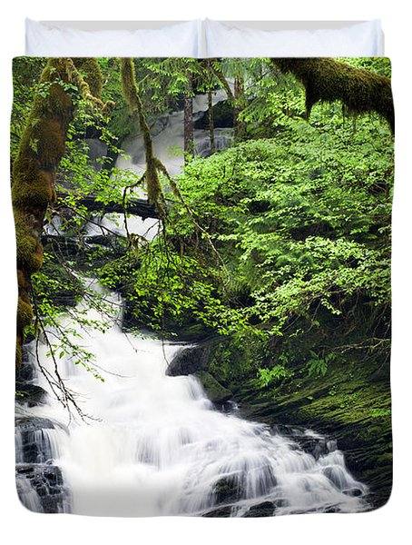 Lower Lunch Creek Falls Duvet Cover