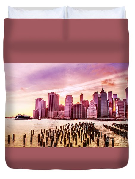 Duvet Cover featuring the photograph Lower Manhattan And Ferry by Rima Biswas