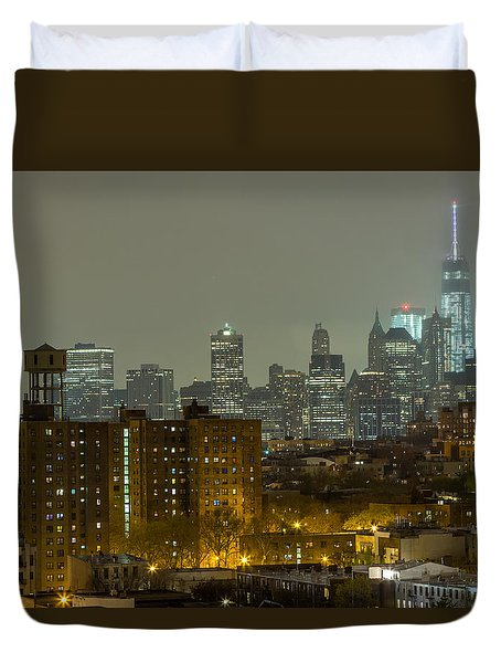 Lower Manhattan Cityscape Seen From Brooklyn Duvet Cover