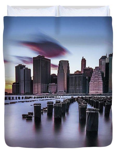 Lower Manhattan Purple Sunset Duvet Cover