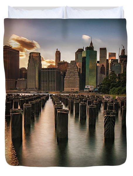 Lower Manhattan Sunset Twinkle Duvet Cover