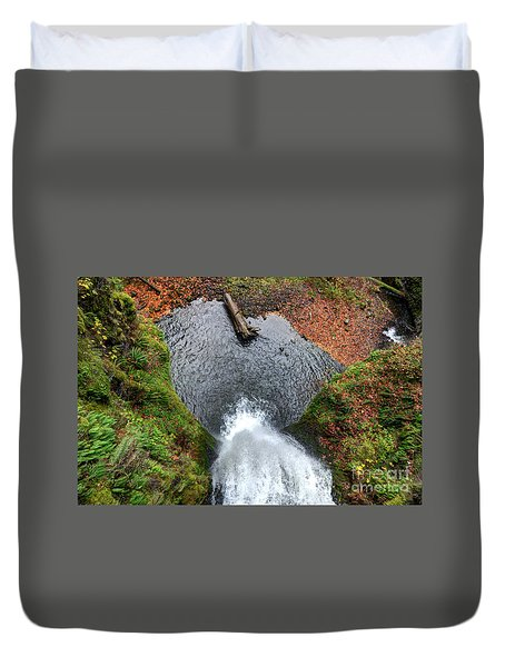 Duvet Cover featuring the photograph Lower Multnomah Falls From Benson Bridge - Columbia Gorge by Gary Whitton