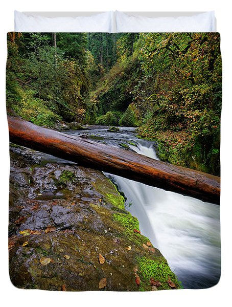 Duvet Cover featuring the photograph Lower Punch Bowl Falls by Jonathan Davison