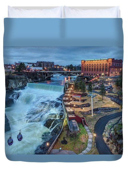 Lower Spokane Falls Early Spring Duvet Cover