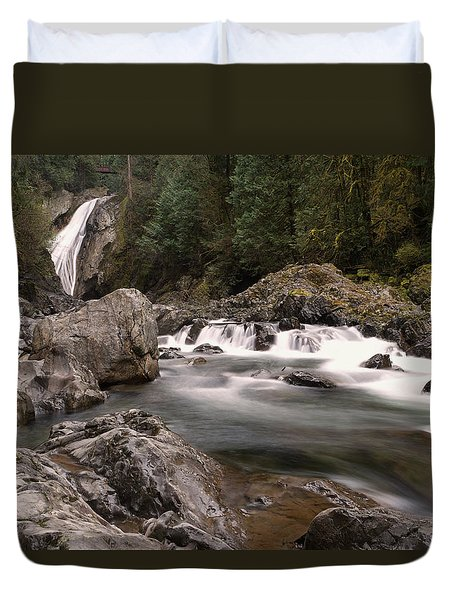 Duvet Cover featuring the photograph Lower Twin Falls by Jeff Swan