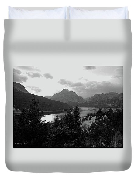 Lower Two Medicine Lake In Black And White Duvet Cover