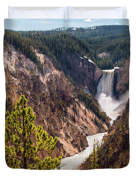 Lower Yellowstone Canyon Falls 5 - Yellowstone National Park Wyoming Duvet Cover by Brian Harig