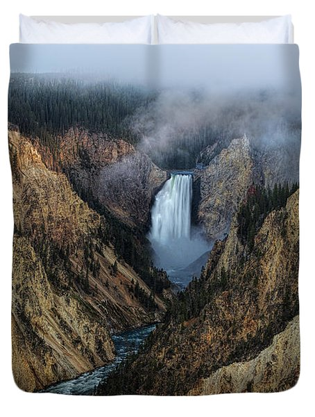 Lower Yellowstone Falls Sunrise Duvet Cover