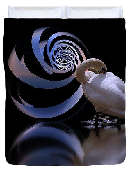Loxodrome And Swan Duvet Cover