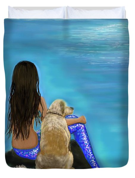Duvet Cover featuring the painting Loyal Loving Buddy by Leslie Allen