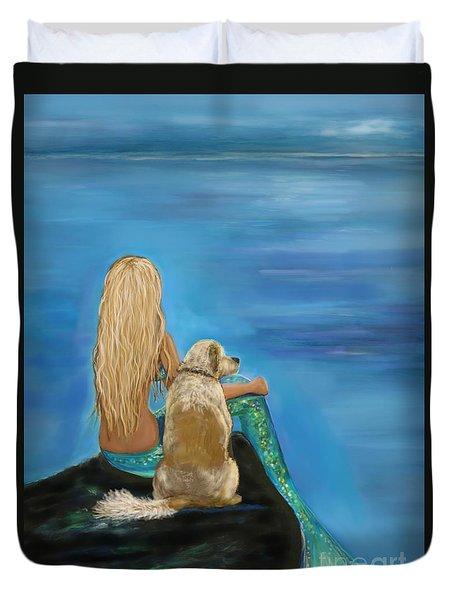 Loyal Mermaids Friend Duvet Cover