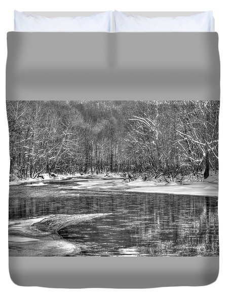 Loyalhanna Creek Bw - Wat0097 Duvet Cover by G L Sarti