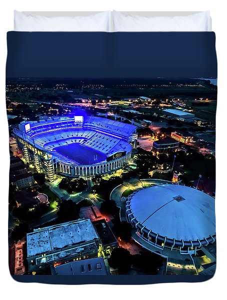Lsu Tiger Stadium Supports Law Enforcement Duvet Cover