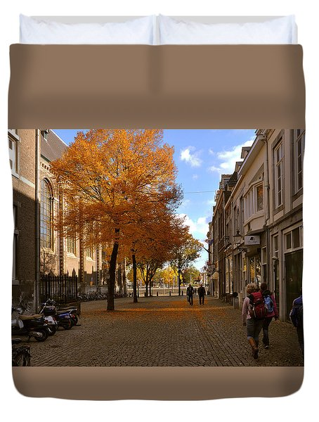 Little Lady Mary Square In October Maastricht Duvet Cover