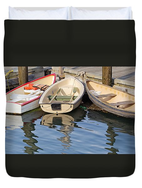 Duvet Cover featuring the photograph Lubec Dories by Peter J Sucy