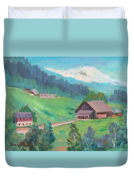Duvet Cover featuring the painting Lucerne Countryside by Diane McClary