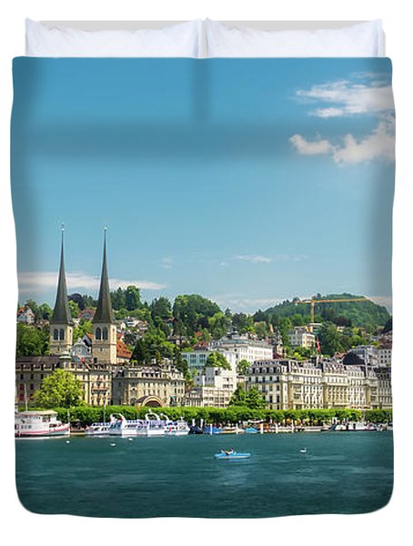 Duvet Cover featuring the photograph Lucerne Panorama by Wolfgang Vogt