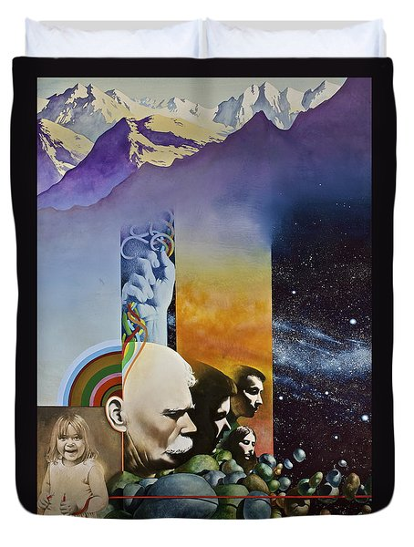 Duvet Cover featuring the painting Lucid Dimensions by Cliff Spohn