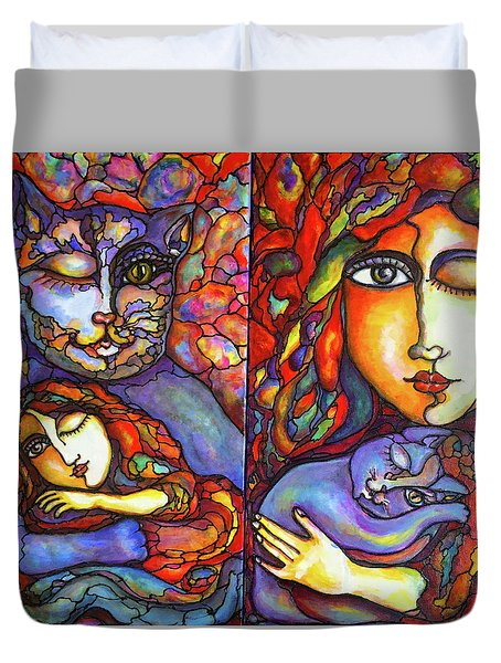 Duvet Cover featuring the painting Lucid Dreams by Rae Chichilnitsky