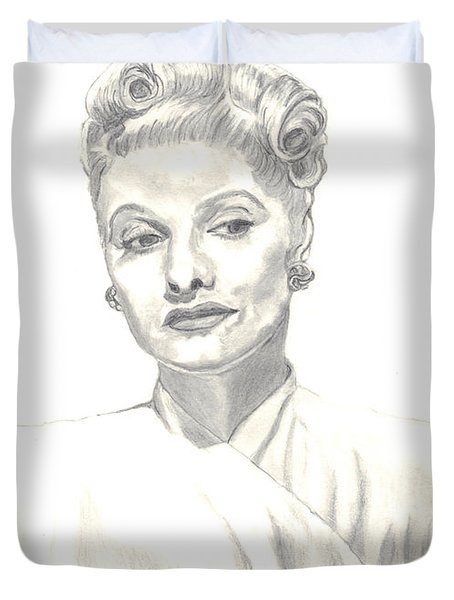 Duvet Cover featuring the drawing Lucille by Carol Wisniewski
