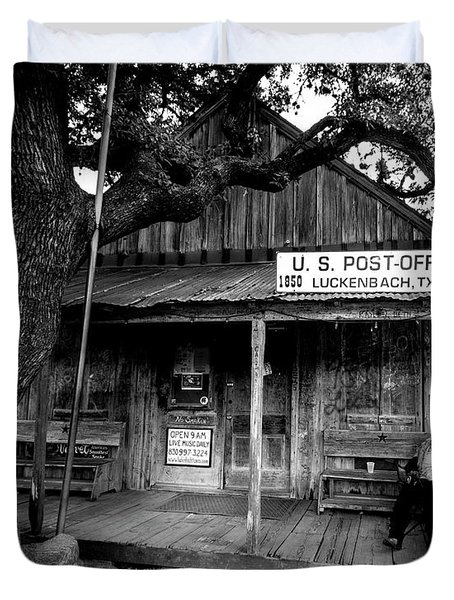 Luckenbach Texas Duvet Cover