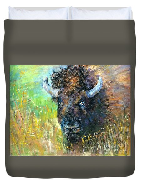 Duvet Cover featuring the mixed media Lucky Buffalo by Jieming Wang