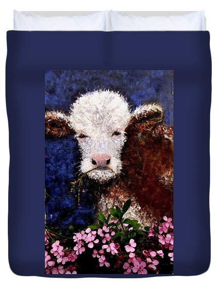 Duvet Cover featuring the painting Lucky.. by Cristina Mihailescu
