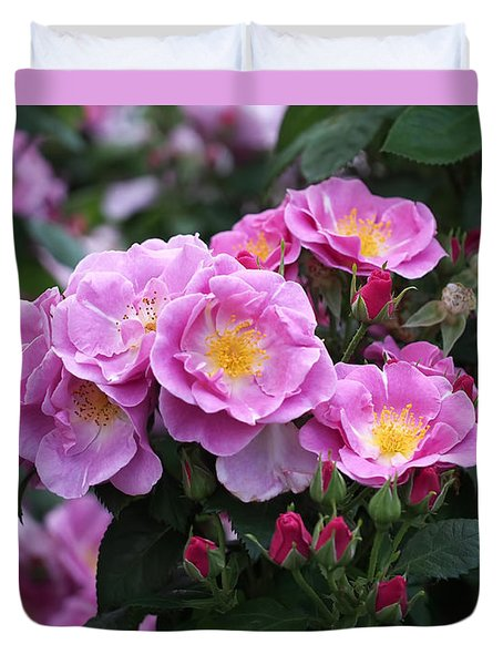 Duvet Cover featuring the photograph Lucky Floribunda Roses by Rona Black
