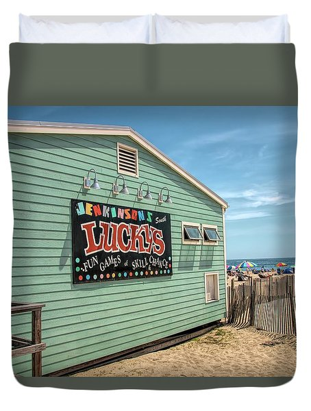 Duvet Cover featuring the photograph Luckys At Jenkinsons South by Kristia Adams