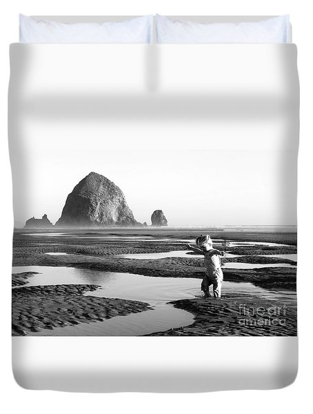 Lucy At Haystack Rock Duvet Cover