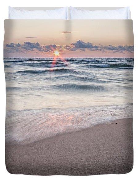 Ludington Beach Sunset Duvet Cover
