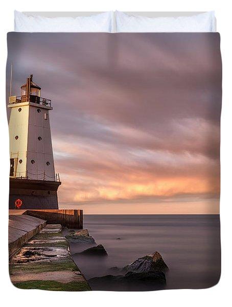 Duvet Cover featuring the photograph Ludington Light Sunrise Long Exposure by Adam Romanowicz