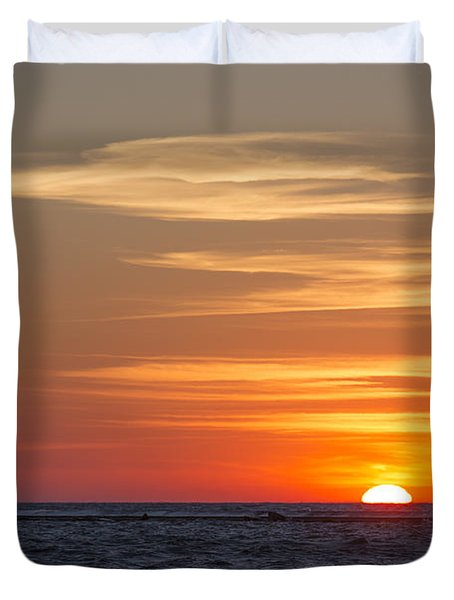Duvet Cover featuring the photograph Ludington North Breakwater Light At Sunset by Adam Romanowicz