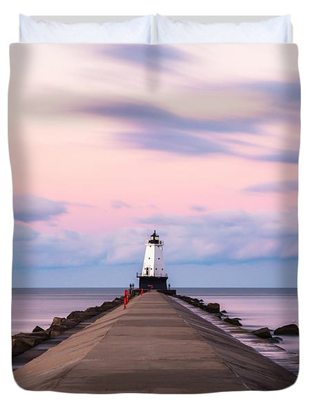 Duvet Cover featuring the photograph Ludington North Breakwater Light Sunrise by Adam Romanowicz