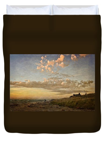 Duvet Cover featuring the photograph Ludington State Park Beach House At Sunset by Michelle Calkins