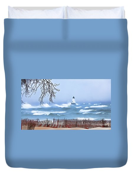 Ludington Winter Shore  Duvet Cover