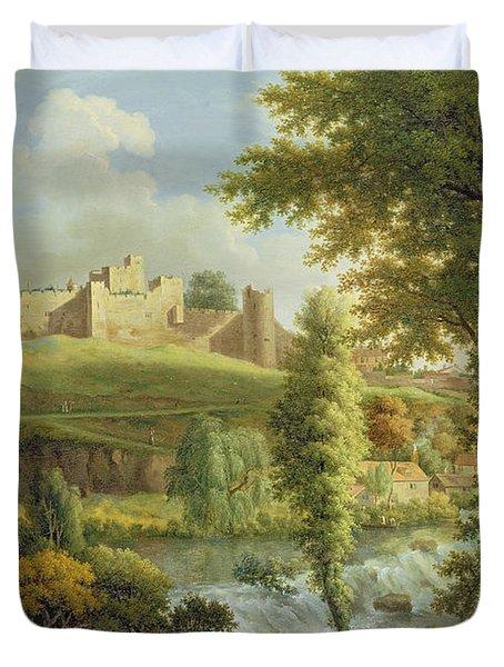 Ludlow Castle With Dinham Weir Duvet Cover by Samuel Scott